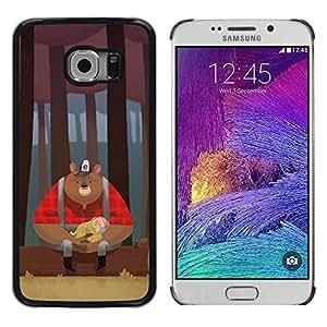 Shell-Star Arte & diseño plástico duro Fundas Cover Cubre Hard Case Cover para Samsung Galaxy S6 EDGE / SM-G925 / SM-G920A / SM-G925T / SM-G925F / SM-G925I ( Bear Woodsman Red Woods Brown )