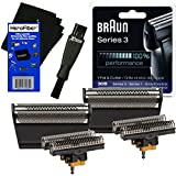 Braun Shaver Parts 30b - Braun 30B Replacement Head Foil & Cutter Set for Select Series 1, Series 3, SmartControl, TriControl (7000/4000) Shavers + Double Ended Shaver Brush + HeroFiber Ultra Gentle Cleaning Cloth (2 pack)