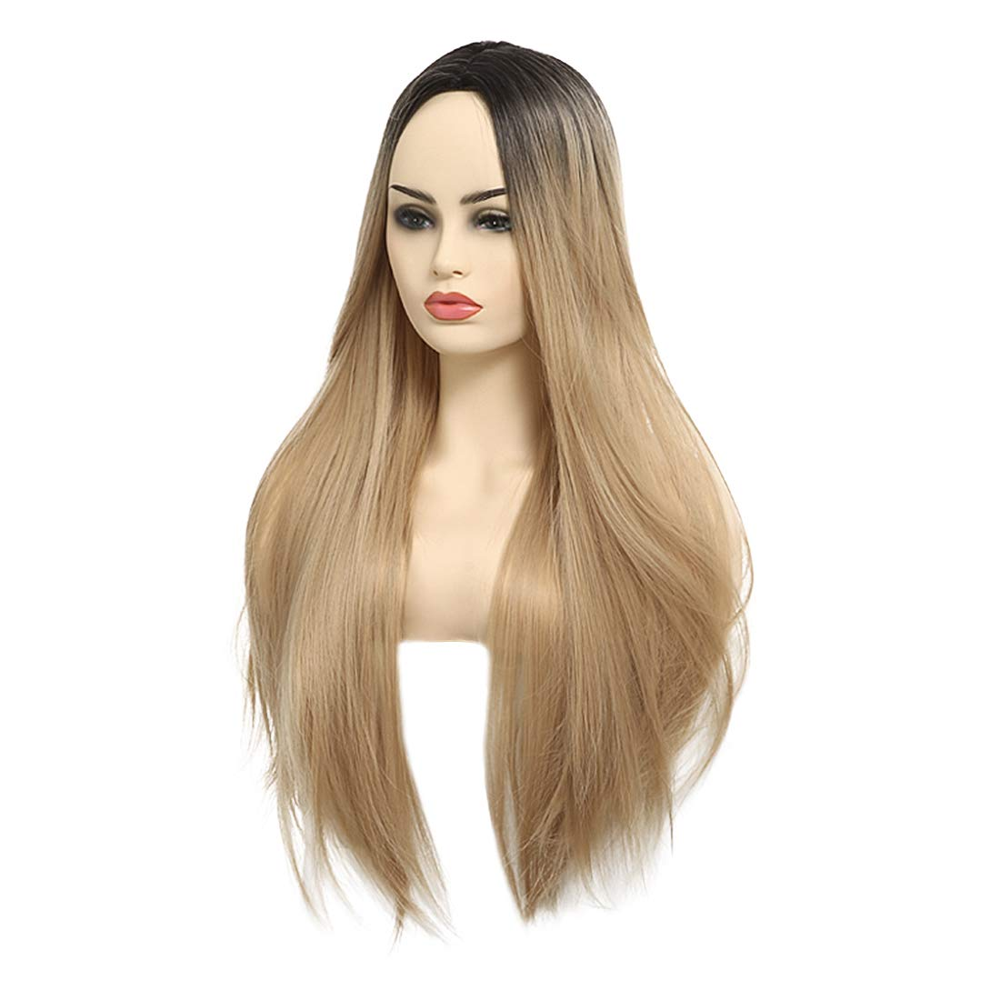 FESHFEN Ombre Synthetic Wig 27 Inch Kanekalon Fiber Dark Roots Two Tone Natural Long Straight Golden Blonde Heat Resistant Fiber Middle Part Simulated Scalp Wig for Women COSPLAY Party Christmas Girls