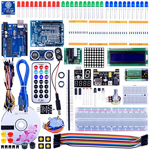 Quimat UNO R3 Project Super Starter Kit with Free Tutorial for Arduino,Complete Robotics Sensor Kit with Breadboard,Protoboard,Nano Board,5V Relay,Power Supply Module,Stepper Motor, 9V DC Battery by Quimat