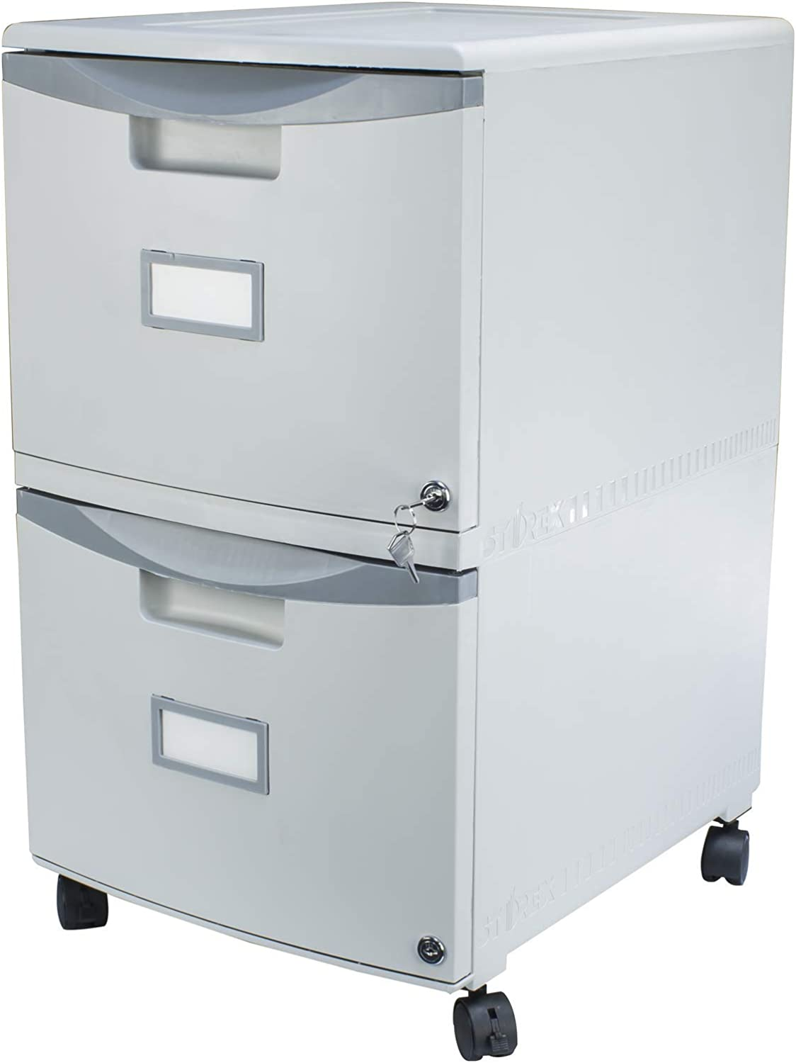 Storex Plastic 2-Drawer Mobile File Cabinet, All-Steel Lock and Key, Gray