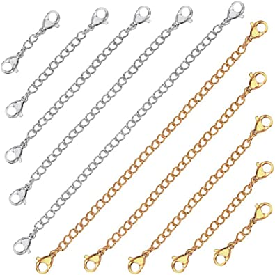 Silver  2 to 6 inch Clip on chain extender or extention for necklace /& bracelet