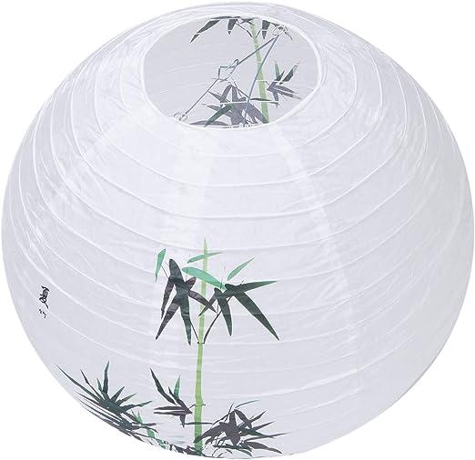 BKAUK - Pantalla de papel para lámpara, estilo oriental, 40 cm ...