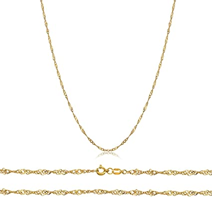 """1mm 20/"""" 10K Solid White Gold Singapore Chain Necklace 16/"""",18/"""""""