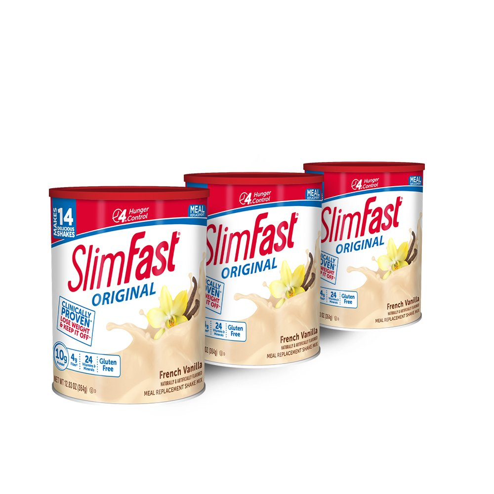 SlimFast Original French Vanilla Meal Replacement Shake Mix – Weight Loss Powder – 12.83 oz Canister – Pack of 3