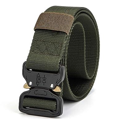 Mens Tactical Belt Heavy Duty Webbing Belt Adjustable Mens Military Belts with Ring Holder Gear