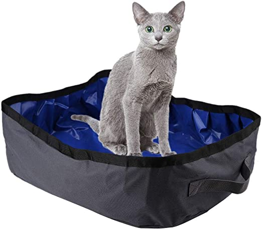 Hffheer Caja de Arena de Viaje para Gatos, Caja de Arena Plegable ...