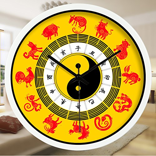 Znzbzt Simple Creative Mute Wall Clock Traditional Chinese Foot spa and Massage parlors in The Hospital Ward 医 feng Shui Decorative Wall Clock Mute Watches, 14 inch, The
