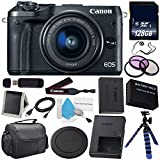 Canon EOS M6 Mirrorless Digital Camera with 15-45mm Lens (Black) 1724C011 (International Model) + LP-E17 Replacement Lithium Ion Battery + 128GB SDXC Class 10 Memory Card Bundle