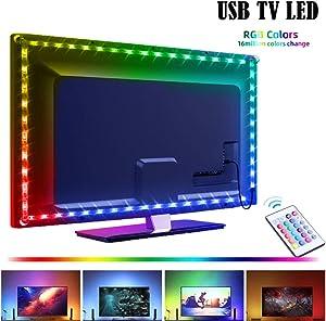 LED Strip Lights USB Powered, 6.6ft Led Tv Backlights, Led Strip Lights with Remote for TV Monitor PC Laptop Desk Backlight, Color Changing Rope Lights TV Bias Lighting Kit for Room Home Movie Decor