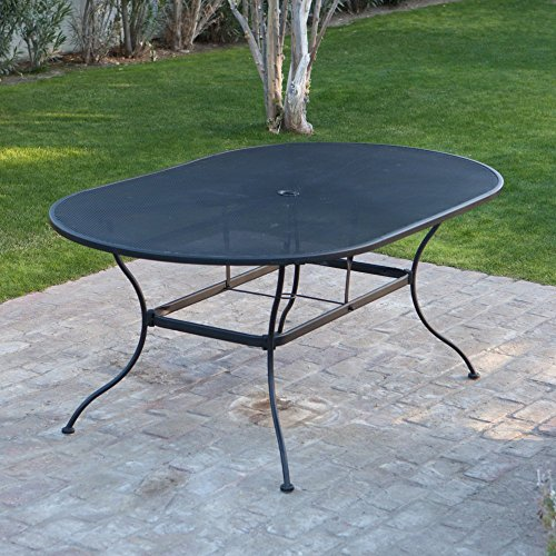 Belham Living Stanton 42 x 72 in. Oval Wrought Iron Patio Dining Table by Woodard - Textured Black (Wrought Iron Bench For Sale)