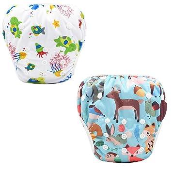 f/ür Junge M/ädchen wiederverwendbar Badewindel Badewindelhose f/ür 1-2 Jahre 3-15kg Elefant+Wagen Baby Schwimmwindel 2 tlg
