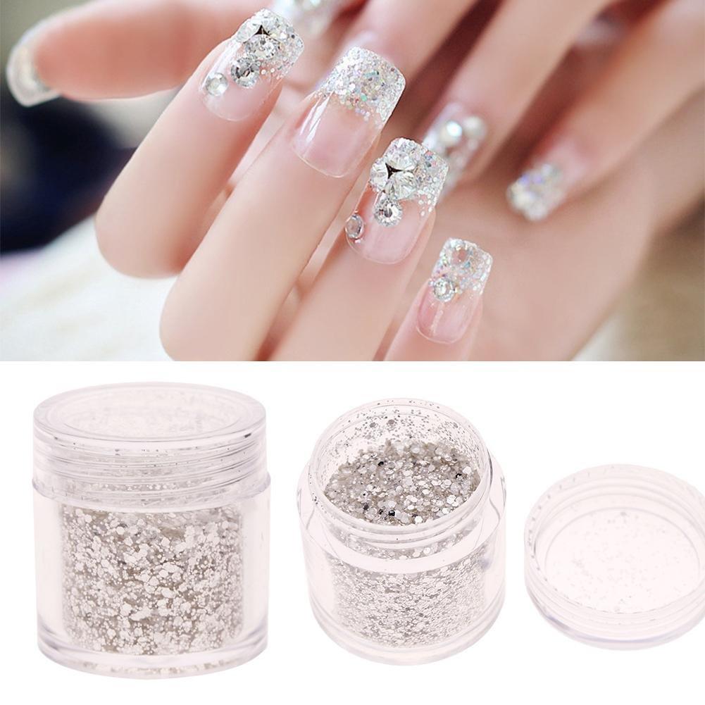 ZHUOTOP - Parche de lentejuelas plateadas para decoración de uñas, brillantes, 10 g