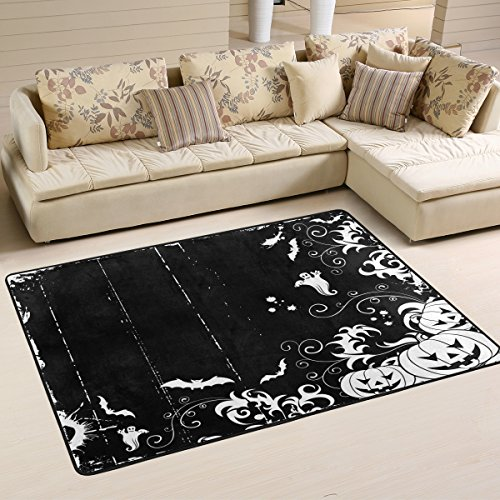 Cool Halloween Frame with Bats, Ghost and Pumpkin Area Rug Pad Non-Slip Kitchen Floor Mat for Living Room Bedroom 4' x 6' Doormats Home Decor