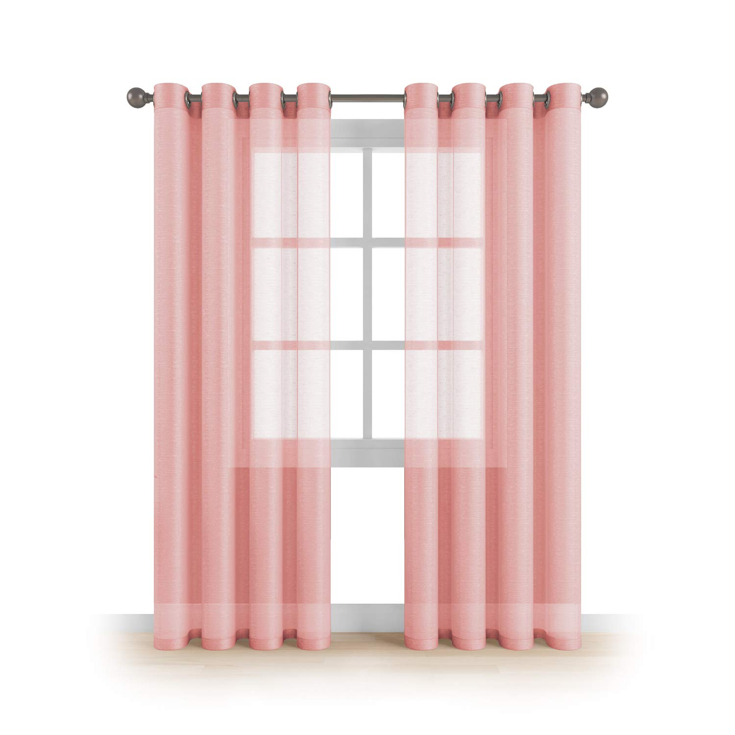 "MEMIAS Grommet Semi Sheer Luxury 2 Panels Total Width 108"" (Each Curtain 54""W x 108""L) Window Home Decor and Upscale Design Light Penetrating & Privacy Soft Durable Polyester Easy Upkeep Baby Pink"