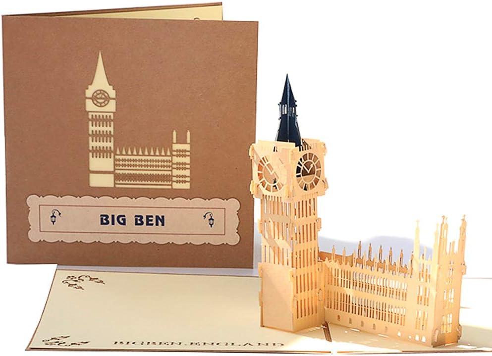 DEESOSPRO® [Tarjeta de Cumpleaños] [Tarjeta de Aniversario] [Tarjeta de Graduación] con Patrón Emergente 3D Creativo, Regalo para Cumpleaños, Graduación, Navidad, Día del Padre (Big Ben)