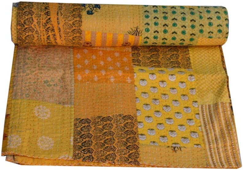 New Indian Cotton Hand Block Print Bed Cover Throw Ethnic Blanket Kantha Quilt