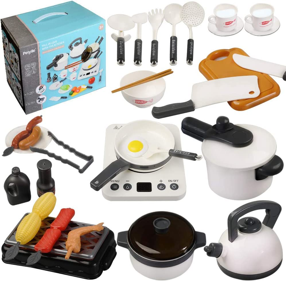 QDH Kids Kitchen Toys Pretend Play Kitchen Toy Sets with Electronic Induction Cooktop, Pots Pans, Cooking Utensils Accessories, BBQ Play Food, Learning Gift for Toddlers Boys Girls 2+ Years Old