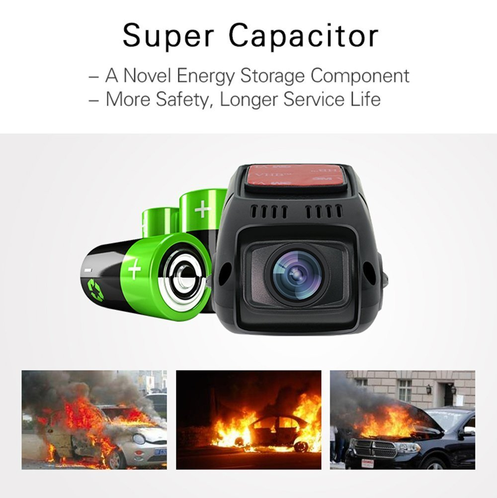 Capacitor Edition Upgraded from A118 ARECORD B40D Car Video Camera Recorder w// 1080P WDR G-Sensor Loop Recording 170 Degree Wide Angle Dual Channel HD Dash Cam w//Rear View Camera /& 16G Card