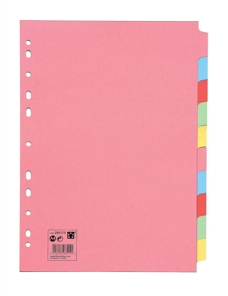 5 Star Office Subject Dividers Multipunched Manilla Card 10-Part A4 Assorted (3)