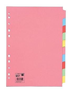 5 Star 295179 - Separadores de cartulina 10 posiciones, color pastel: Amazon.es: Oficina y papelería
