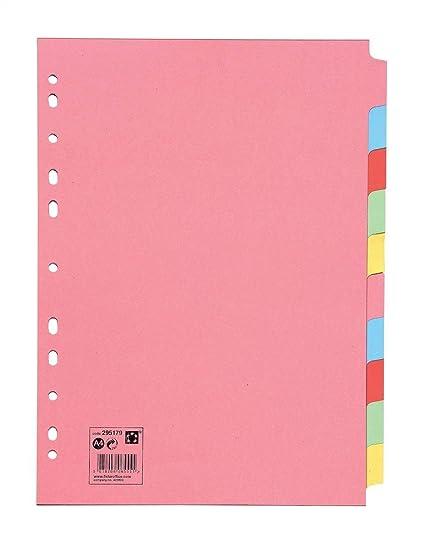 5 Star 295179 - Separadores de cartulina 10 posiciones, color pastel