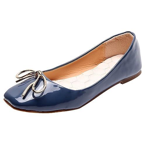 30e5ebcf4 Jamron Mujer Suave Cuero PU de Patente Bailarinas Dolly Zapatos Mocasines  Planos con un Lazo Encantador  Amazon.es  Zapatos y complementos