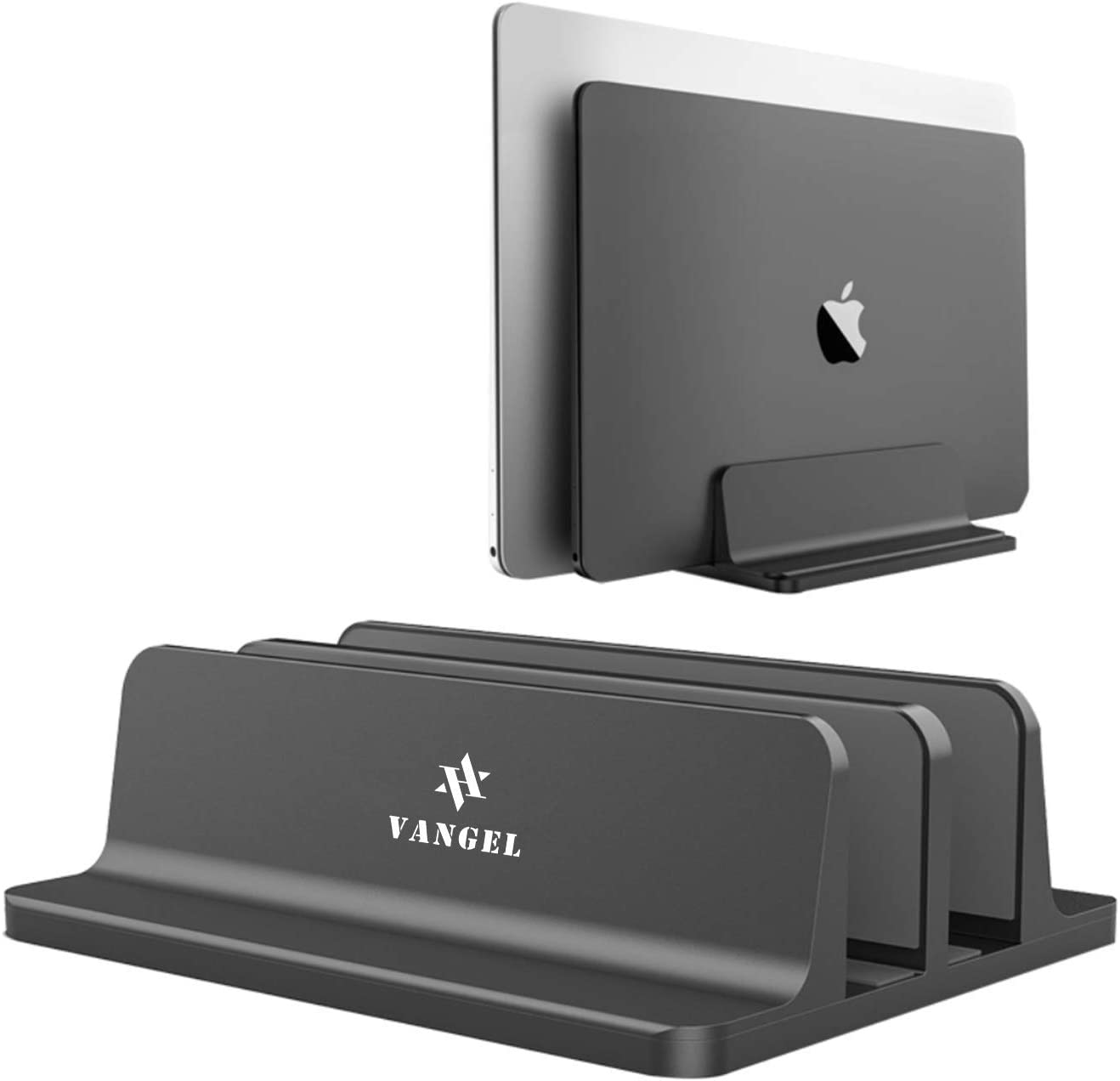 Aluminum Vertical Laptop Stand - VANGEL Double Desktop Stand Holder with Adjustable Docks (up to 17.3 inches) - Desktop Organizer for All Laptop, MacBook, Tablet - Anti-Slip and Anti-Scratch - Black