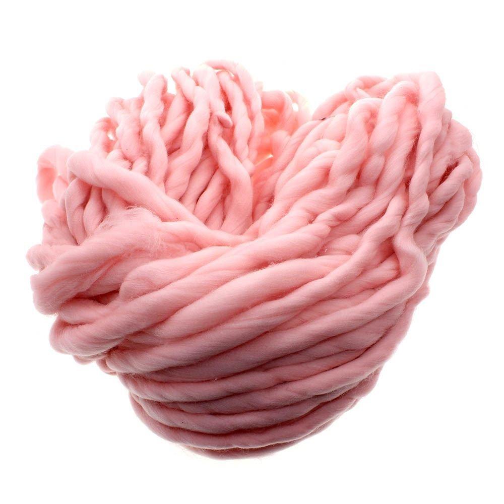 MMRM Super Chunky Yarn Soft Wool Roving Bulky Yarn Spinning Hand Knitting - 260G - Pink