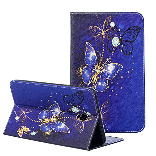 Case for Samsung Galaxy Tab A 8.0 2017, ZAOX Slim Folding Premium PU Leather Folio Stand Cover Case with Card Holder for Galaxy Tab A 8.0 Inch SM-T380/T385 Tablet 2017 Release (Navy Blue Butterfly)
