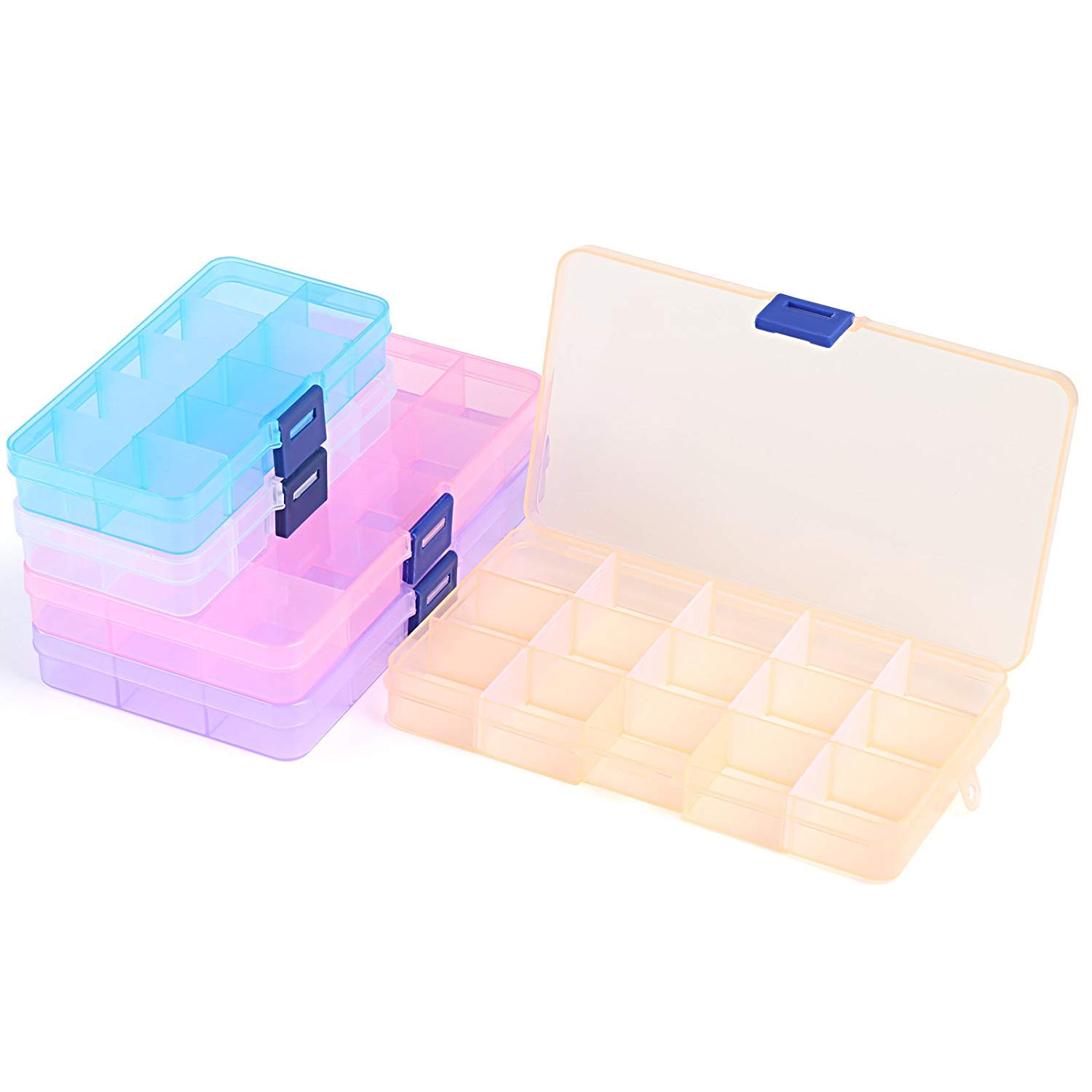 Earring Fishing Hook Plastic Jewelry Box with Movable Dividers Containers for Beads Ring Small Accessories 3pcs 15 grids, 2pcs 10 grids, 5 Colors Lightweight Tool LEMESO 5pcs Jewelry Organizer