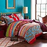 LELVA Boho Style Bedding Set Bohemian Ethnic Style Bedding Set Boho Duvet Cover Set Camel Pattern Bedding Set Queen / King 4pcs (1, Queen)
