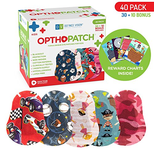 Kids Eye Patches - Fun Boys and Girls Design - 30 + 10 Bonus Latex Free Hypoallergenic Cotton Adhesive Bandages For Amblyopia and Cross Eye - Reward Chart Poster - Optho-Patch by Defined Vision