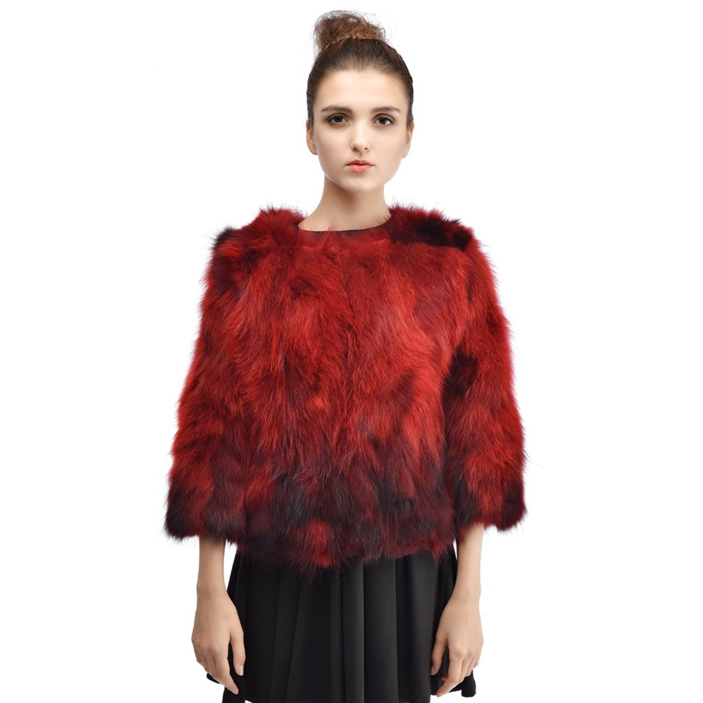 OLLEBOBO Women's Fashion Genuine Raccoon Dog Fur Knitted Coat For Winter Size 3XL Red