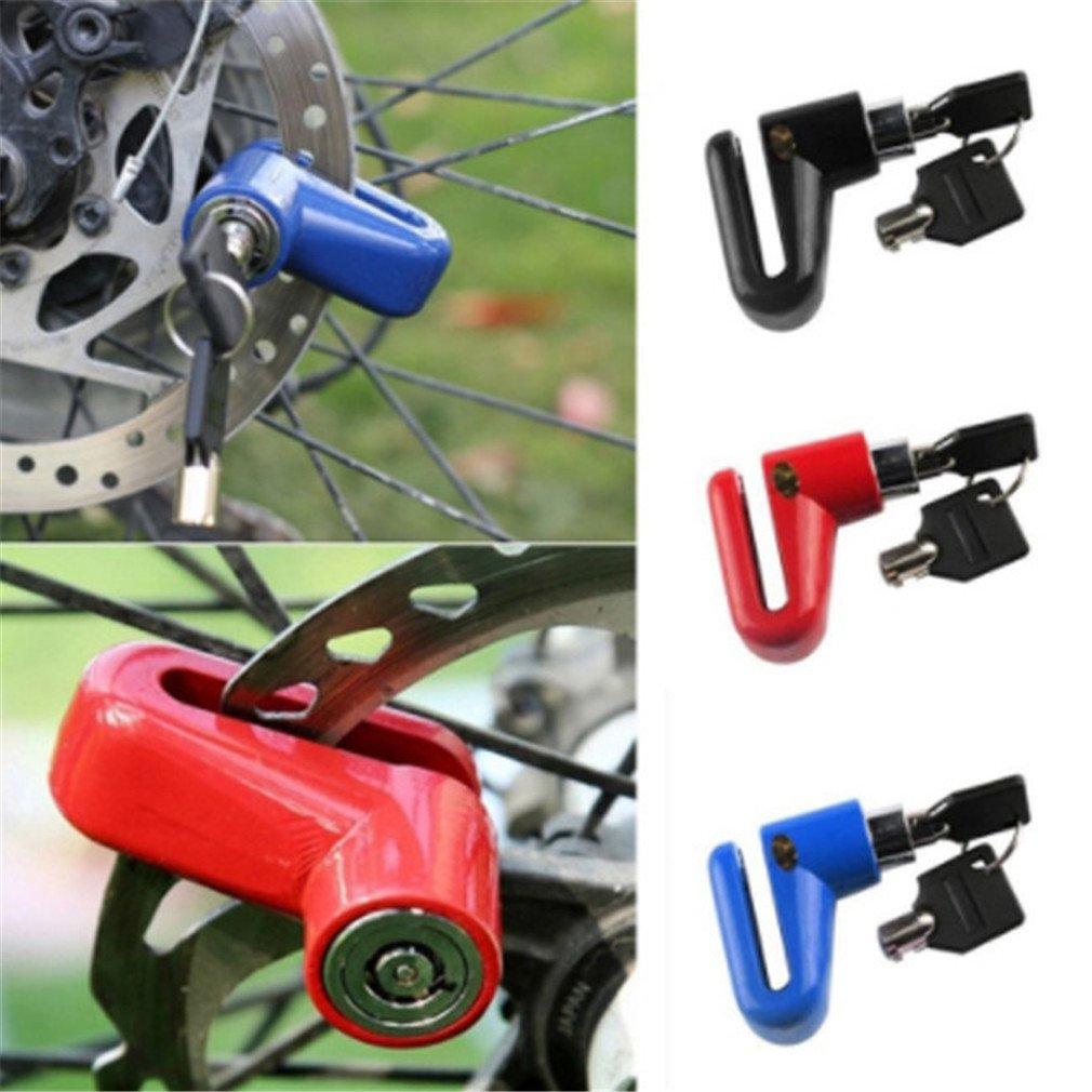 Yinew Candado de Disco para Motocicleta Cerradura de Disco y Llaves de Seguridad As Description Rojo