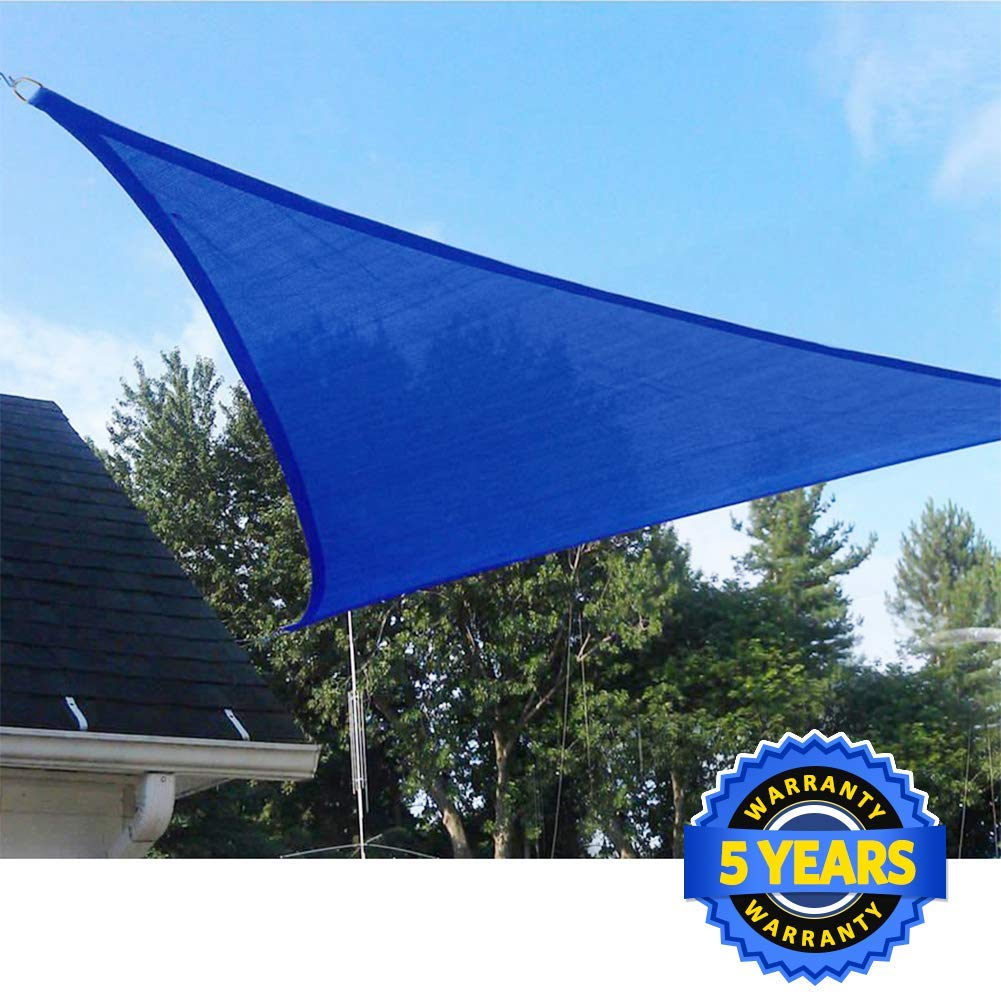 Quictent 20 x 20 x 20 ft Triangle 185GSM Sun Shade Sail Canopy 98% UV-Blocked for Patio Outdoor Activities (Blue)