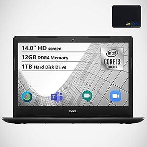 "Dell Inspiron 14"" HD Laptop, Intel i3 1005G1, 12GB DDR4 Memory, 1TB HDD, Online Class Ready, Webcam, WiFi, HDMI, Bluetooth, KKE Mousepad, Win10 Home, Black"