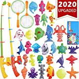 CozyBomB Magnetic Fishing Toys Game Set for Kids Water Table Bathtub Kiddie Pool Party with Pole Rod Net, Plastic Floating Fish-Toddler Color Ocean Sea Animals Age 3 4 5 6 Year Old (Large)