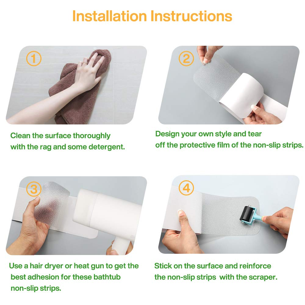 Ratgoo 15Pcs 4x32 Waterproof Non-Slip Tape with Soft Texture,Anti-Skid Strips for Shower Floor Stairs Treads,Specially Designed for Protecting Your Kids,Parents from Slipping Injuries Clear