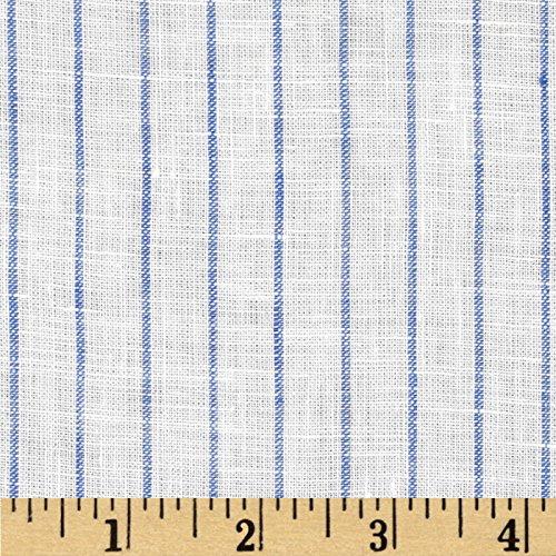 - TELIO Tuscany Pinstripe Linen Fabric by The Yard, Cream/Blue