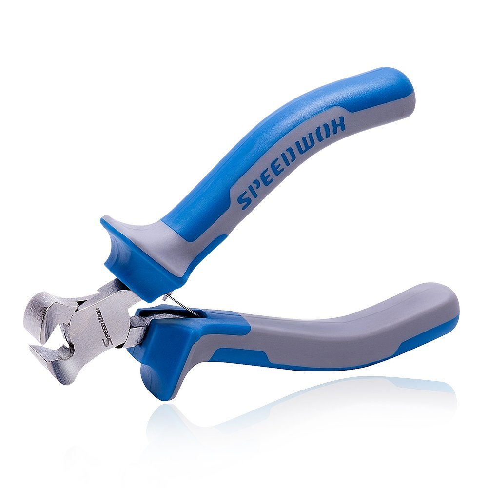 SPEEDWOX 4 inch End Nippers Precision End Cutters Pliers Mini End Cutting Nippers Fine Pliers with Spring Micro Functional Small Wire Cutter Jewelry Making Shoes Repair Tool Pull Nails Brads by Speedwox