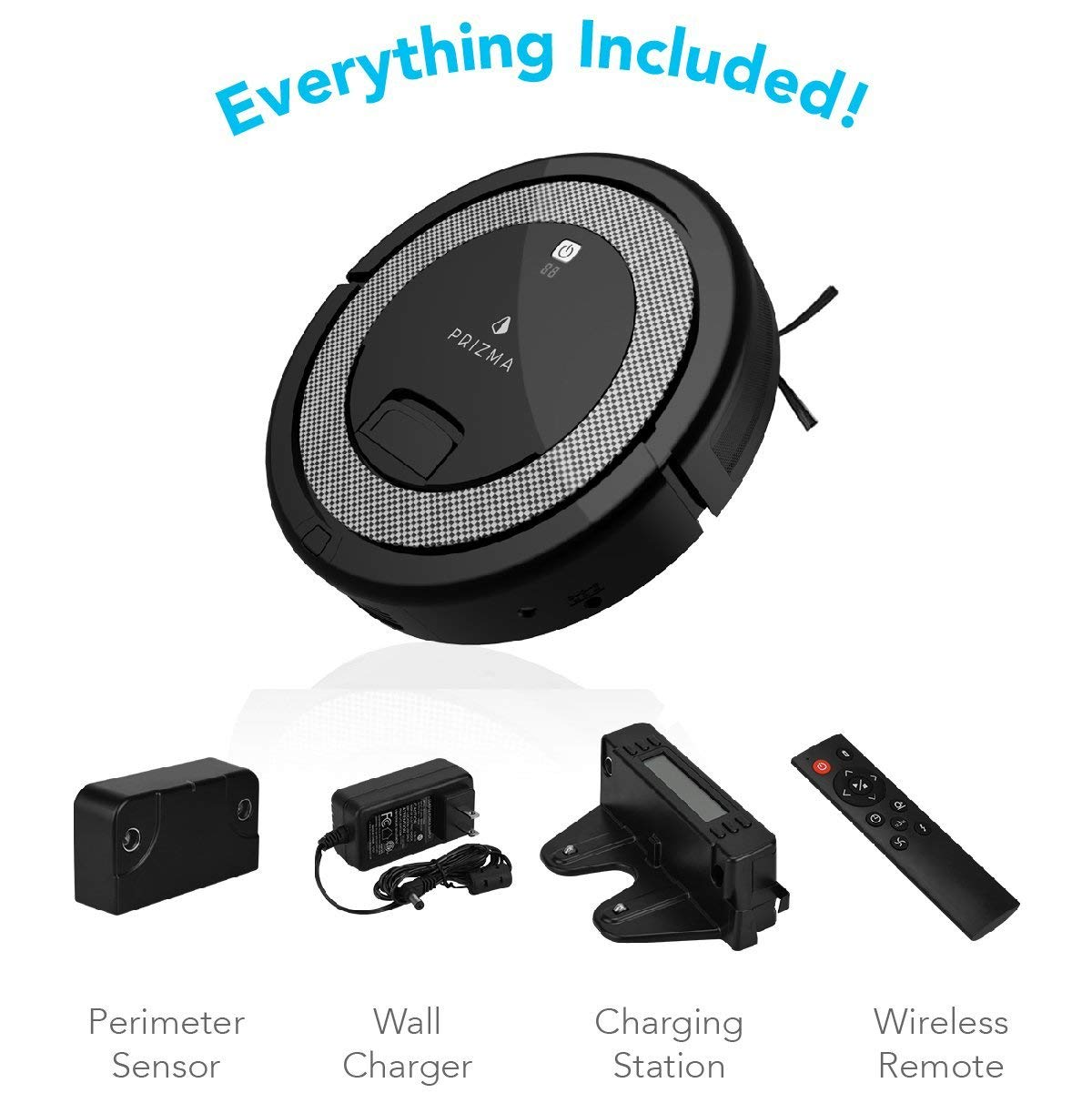 CleanMate QQ6 - Prizma Edition Robot Vacuum Cleaner with Remote Control, Smart Scheduler, Drop and Obstacle Sensor, Multi-Pattern Cleaning, and Self-Charging for Carpet and Hard Floor (Black) by CleanMate (Image #4)