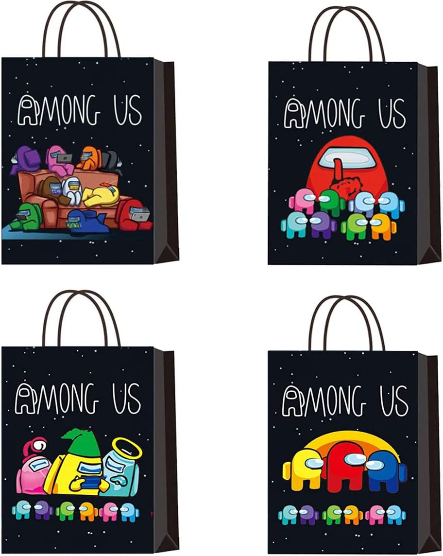 Among Us Party Gift Bags Party Supplies 12Pcs Gaming Party Bags Goody Candy Snack Treat Bags for Kids Boys Gaming Party Supplies Decorations