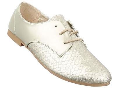 37 Silber Schuhe Schnürer Weiß Damen Elegant 36 38 Halbschuhe Gold n0OkX8wP