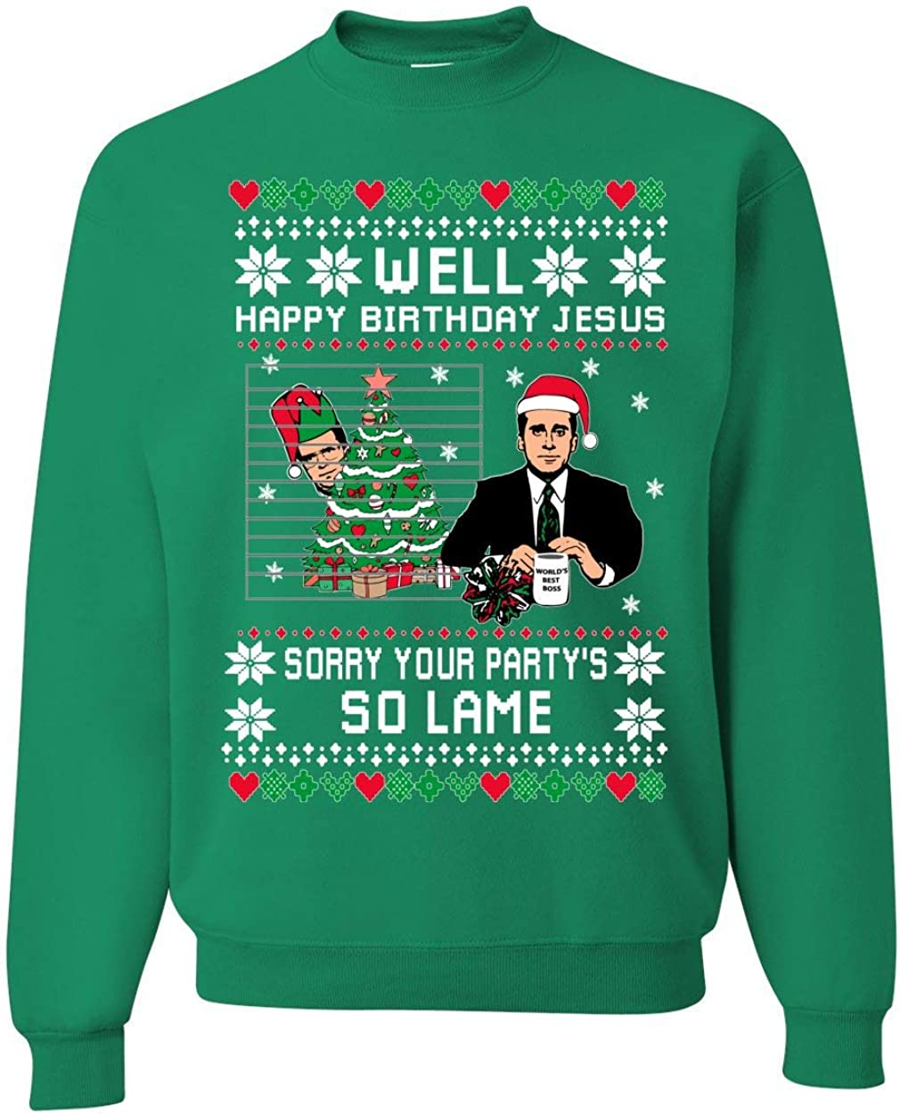 Well Happy Birthday Jesus Funny Quote Office | Unisex Ugly Christmas Sweater Crewneck Sweatshirt