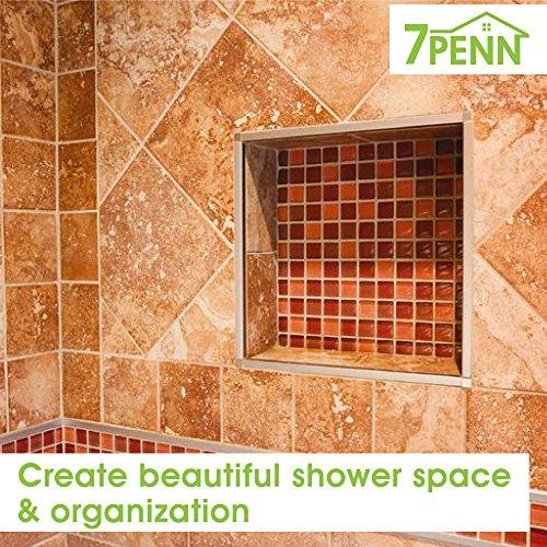 7Penn Shower Niche 32 x 16 Inch Double Shelf Shower Insert Shower Shelves for Tile Walls – Wall Niche Shower Box by 7Penn (Image #5)
