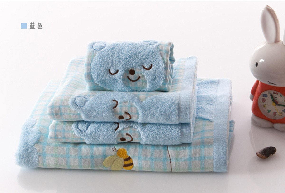 A.H 3Pcs/Set Lovely Cartoon Rabbit Animals Pattern Baby Kid Bathroom Hand Face Towels 35cm×35cm Square Cloth Blue/Yellow/Pink 100% Cotton Soft Touch X1572 (Blue)