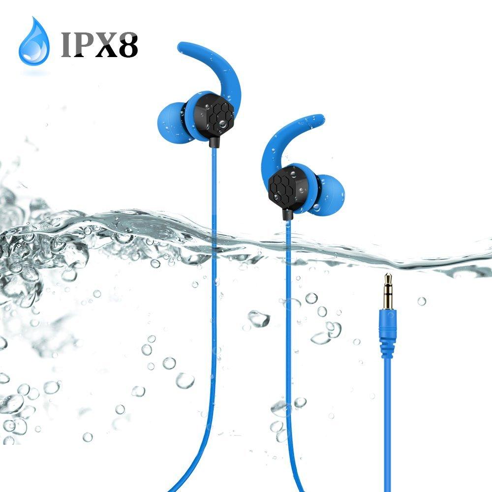 AGPTEK Auriculares Impermeables IPX8 para Natación Piscina Baño Playa y Mp3 Acuaticos, Cable de 60cm y Extensión de 100cm, 3 Tapones para Oídos de 3 Tamaños ...