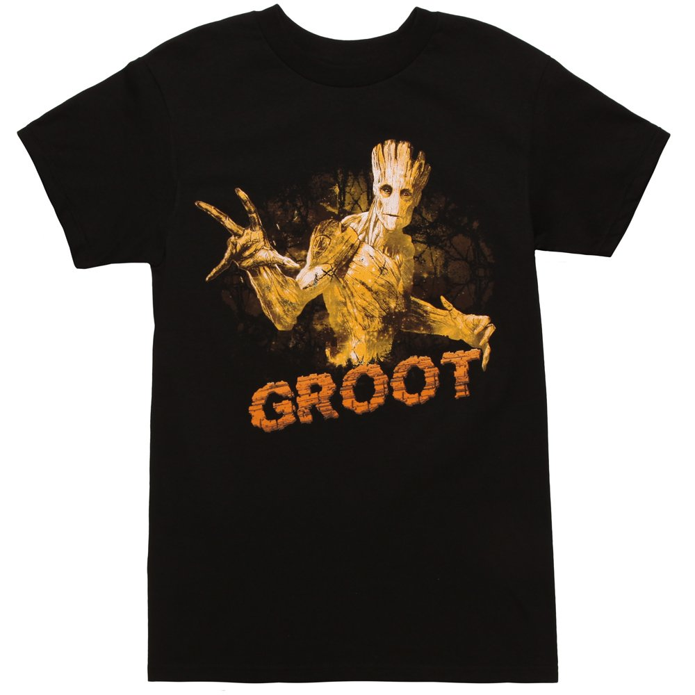 Guardians of The Galaxy Groot Pose Adult T-Shirt - Black (Medium) by Mighty Fine (Image #1)