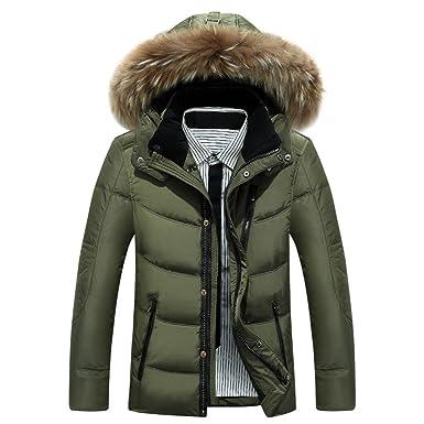 Brinny Herren Jacke Winter Kapaze Daunenjacke Warm Daunen Jacke Steppjacke  Kaelteschutz mit Pelz-Kragen a16c0a5ac1